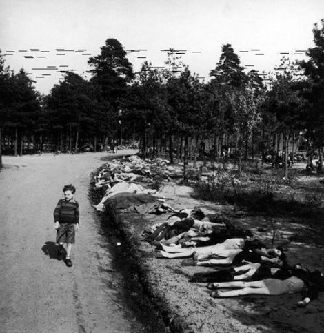 German boy walks on a road with hundreds of bodies from prisoners near the Bergen-Belsen extermination camp, May 1945