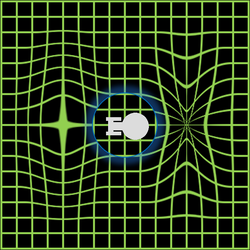 A visualization of a warp field. The ship rests in a bubble of normal (unaltered) space.