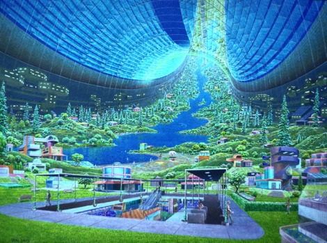 Clean and green an interior rendering of the Torus, an artificial world imagined by scientists at NASA and Stanford. NASA