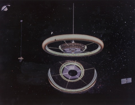 The torus, first conceived in 1975, consists of a doughnut-shaped ring, rotates once per minute to provide artificial gravity and could support 10,000 people. NASA