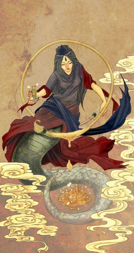 The-goddess-nu-kua-half-woman-half-dragon-created-the-first-humans-out-of-clay