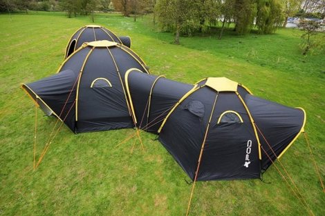 Interconnecting camping tents provide enough room for family and friends